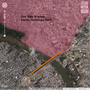 Los Tres Brazos uno de los sectores que mas se beneficiará con la continuación del Metro de Santo Domingo, el sector se encuentra justamente al cruzar el puente existente y el futuro. Ahí iniciara el Metro en Santo Domingo Este.