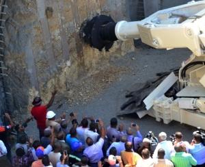 Miembros de la prensa observa inicio de la Tuneladora